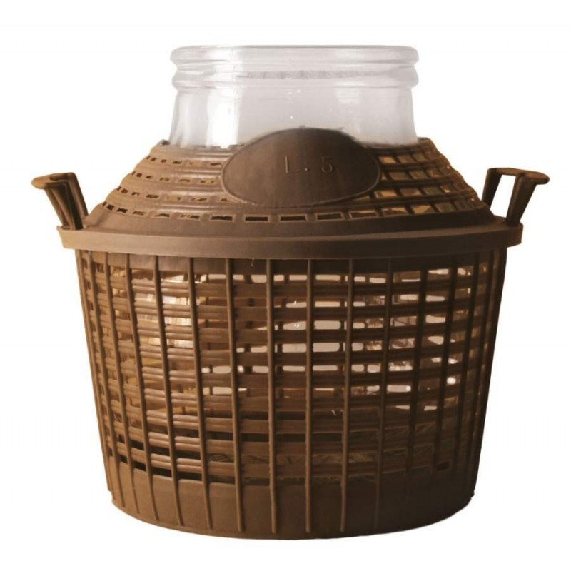 Demijohn with basket 25 l wide opening