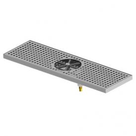 """24"""" x 7"""" Centre Spray Glass Rinser Drip Tray - Brushed Stainless - With Drain"""